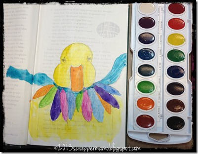 duckling sketch in art journal book water color