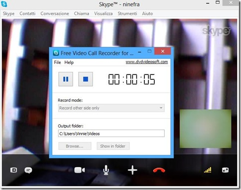 Free Video Call Recorder for Skype in registrazione