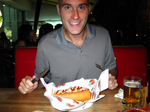 A Colombian hot dog - knife and fork required!