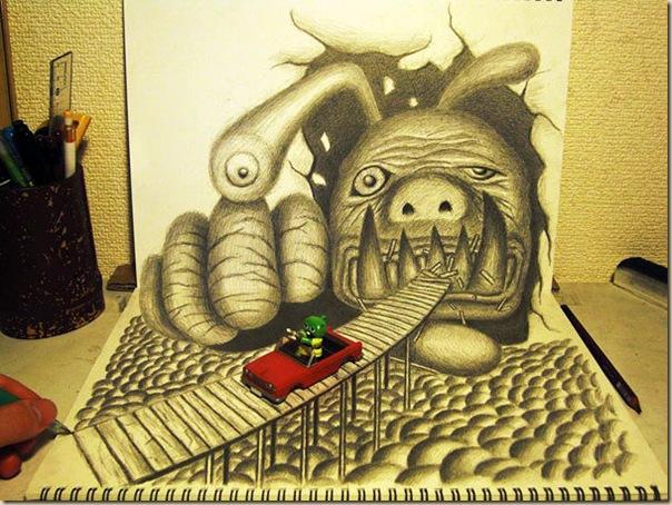 Incroyables dessins au crayon en 3D par Nagai Hideyuki-012