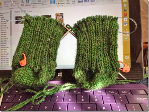 green worsted socks