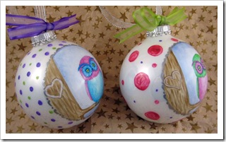 Pretty Little Owl Ornaments - left side