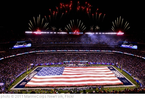 'Marines, Sailors, Coast Guardsmen, Airmen and Soldiers unfurl American Flag at New York Giants military appreciation game Nov. 20' photo (c) 2011, MarineCorps NewYork - license: http://creativecommons.org/licenses/by/2.0/