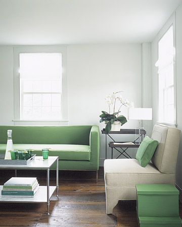 A few pops of green tie this whole room together in a fun pistachio color. (Martha Stewart Living)