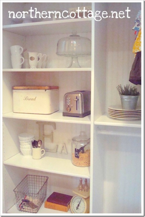 northern cottage kitchen storage shelves