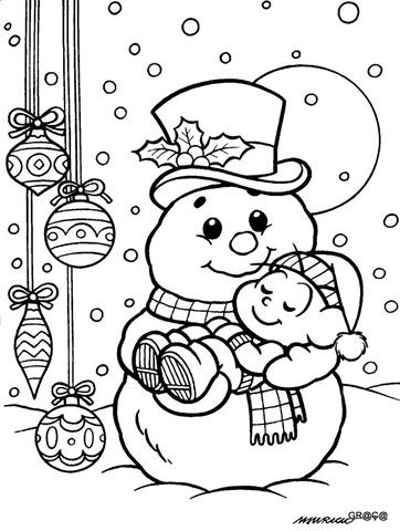 Cebolinha dormindo no boneco de neve,desenho para imprimir e colorir natal,