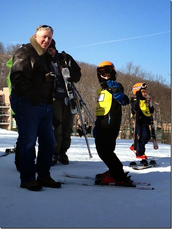dad and brad at ski school
