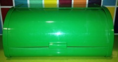 Green plastic bread box