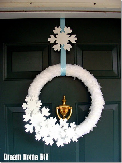 Winter wreath--snowflake wreath made from fake snow and large snowflake cutouts