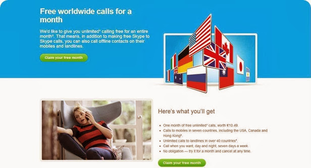 Skype - Free worldwide calls for a month