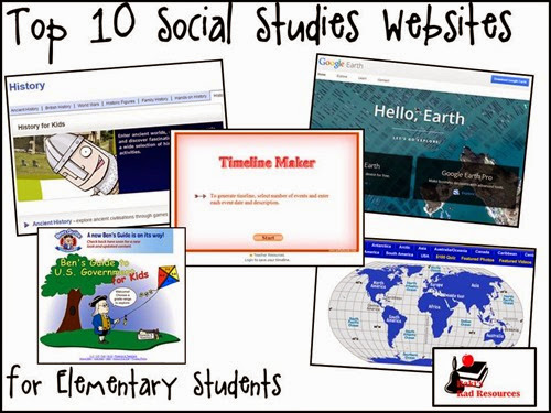 Top 10 Social Studies Websites for Elementary Students - suggestions from Raki's Rad Resources