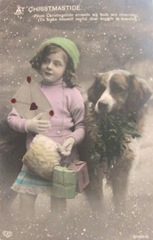 vintage postcard Christmastide girl w dog letter