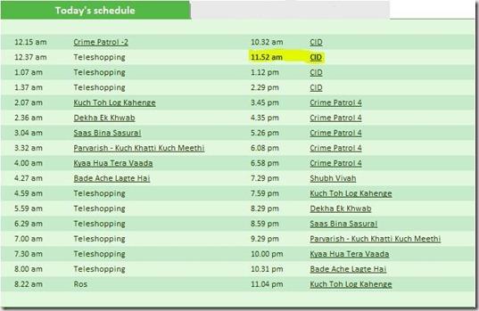 Sony TV Schedule
