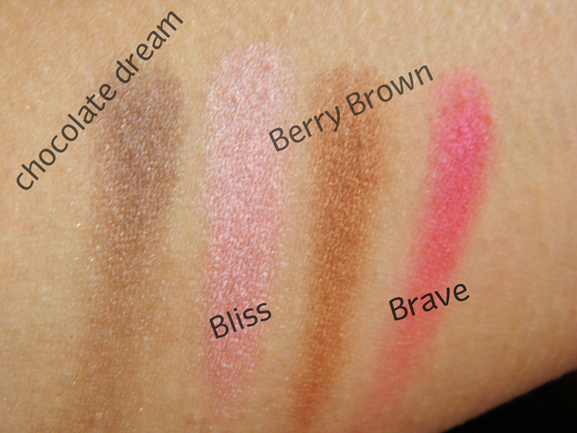 fashionista eyeshadows bliss chocolate dream brave berry brown