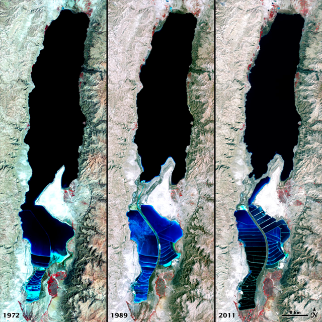 Satellite view of receding Dead Sea, 1972, 1989, and 2011. NASA image by Robert Simmon, using Landsat data from the United States Geological Survey