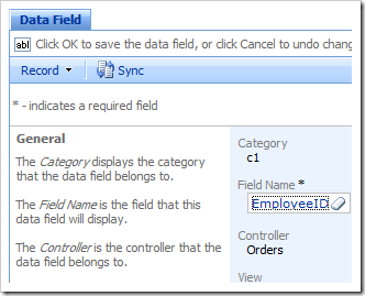Data Field properties page open in the Project Browser.