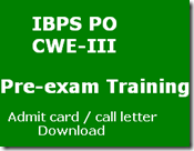 IBPS PO Pre-exam training admit card