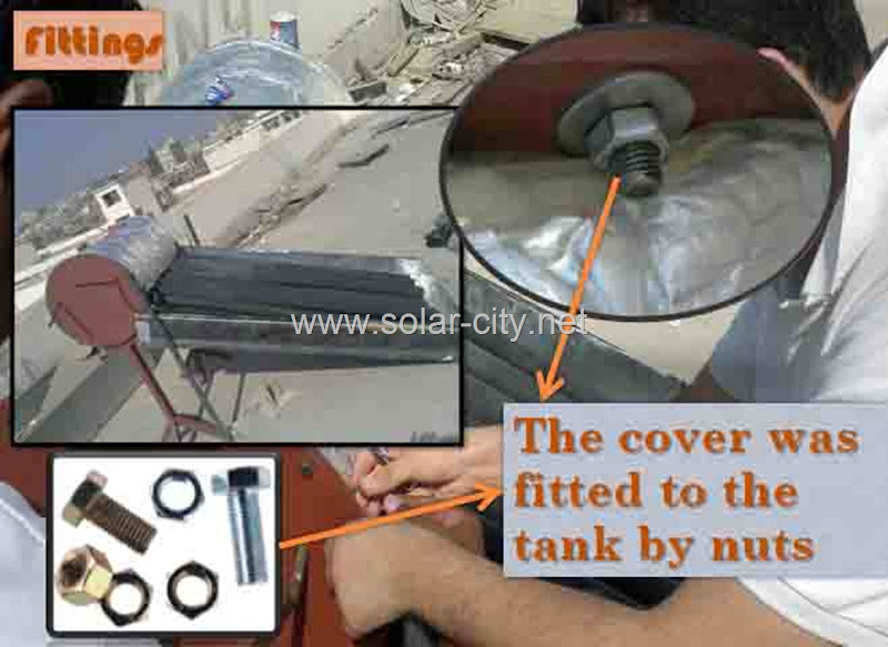 homemade solar water heater - fittings- solar city