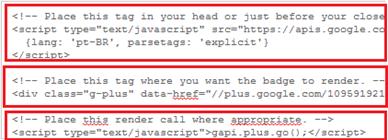 Códigos do widget do Google