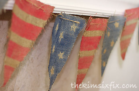 Burlap stars stripes banner