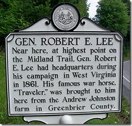 Gen. Robert E. Lee marker in Greenbrier County, WV