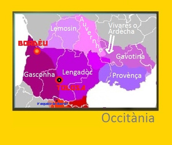Mapa d'Occitània  Bordèu Tolosa Vaquèira Beret