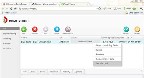 Torch Browser Torrent Download Manager