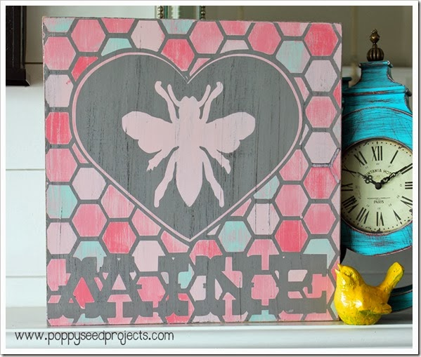 DIY Valentine Antiqued Subway Art - BEE MINE
