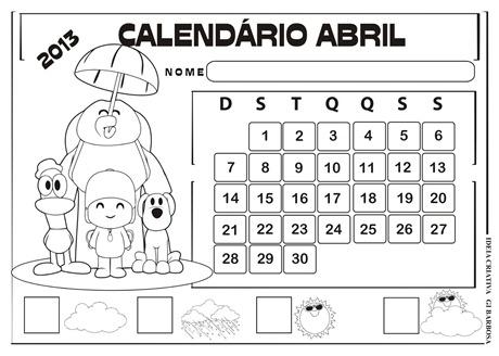 calendário abril pocoyo numerado
