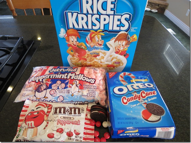 The fixin's for super holiday Rice Krispies Treats