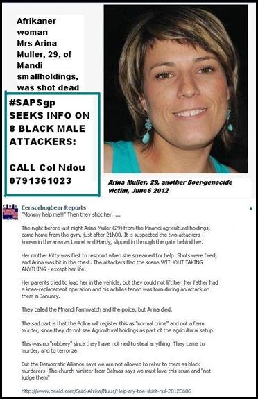 Muller Alina 29 Mnandi AH Centurion shot dead BLACK KILLERS STOLE NOTHing 20120606