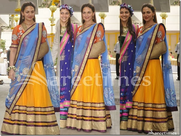 Esha_Deol_Yellow_Blue_Half_Saree
