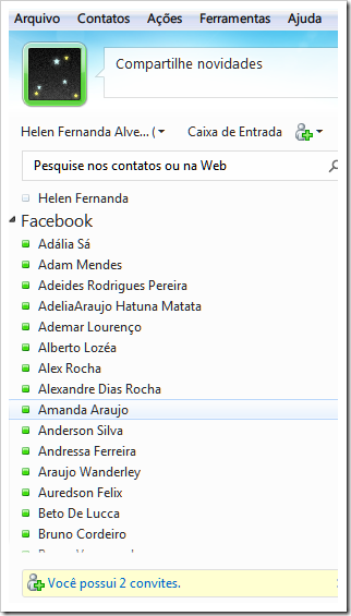 Contatos do Facebook no WLM