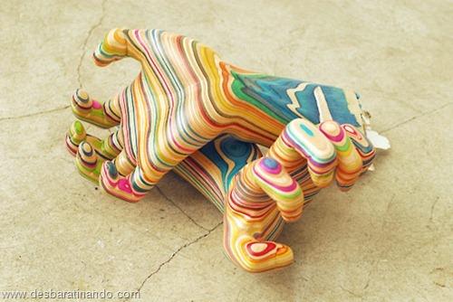 arte esculturas com skate reciclado desbaratinando  (19)