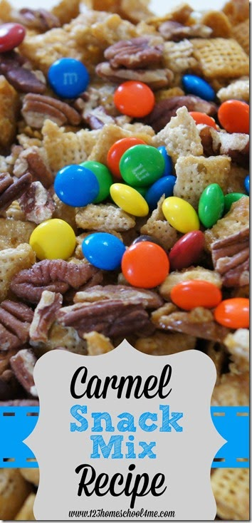 Carmel Snack mix Recipe - This is such a YUMMY recipes for a sweet chex mix. Love the flavors!