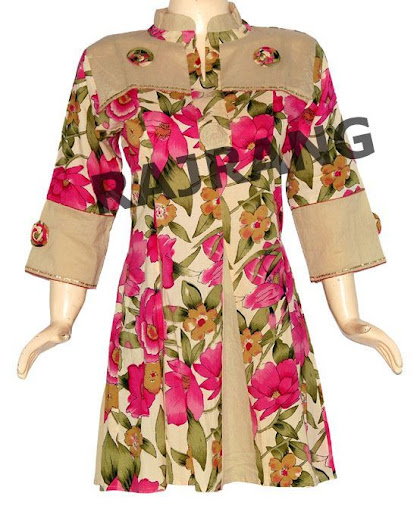 "$22  Awesome Designer Beautiful Look Floral Print Rajwadi Frock/Anarkali Style Cotton Kurta Top Tunic With Flower Patch & Sequins Work  Kurta (Top) Length: 34"" Inches Chest Fits up to: 40"" Inches Sleeves Length: 16"" Inches"
