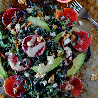 Kale Salad with Blood Orange, Avocado, and Kombucha Vinaigrette