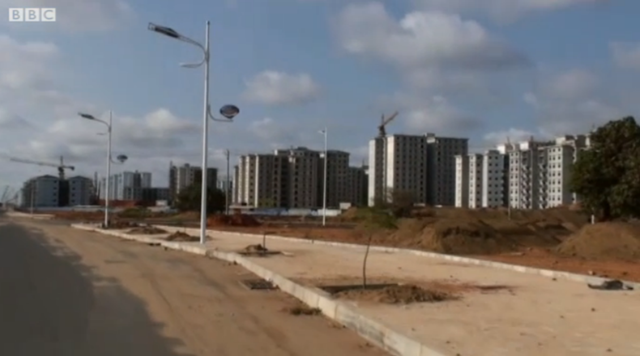 Outside Angola's capital city of Luanda is Nova Cidade de Kilamba, a residential development of 750 eight-story apartment buildings, a dozen schools, and more than 100 retail units. Louise Redvers filmed this footage showing how eerily quiet Nova Cidade de Kilamba is, on 2 July 2012. BBC