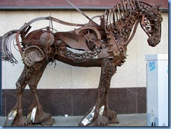 9839 Alberta Calgary - Iron Horse - life size metal sculpture made completely out of scrap metal - on Centre St at the corner Stephen Avenue