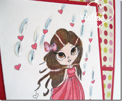 Lucy Sunshine Stamps - Emily Showers Of Love - Latinas Arts and Crafts - Ruthie Lopez DT - Valentine´s Day Card - 3