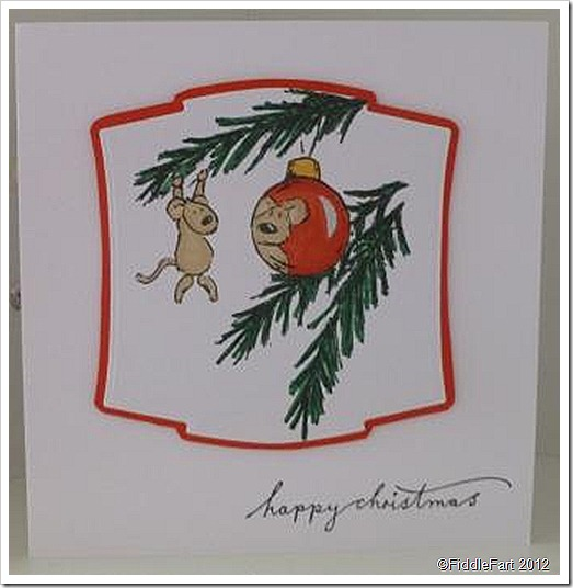Mouse teddy Bauble Christmas Card025