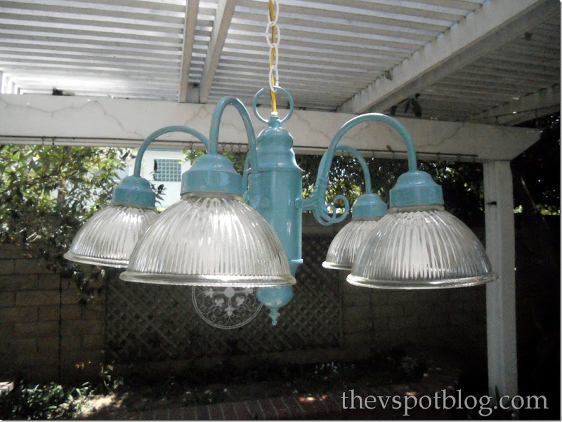turquoise chandelier, outdoor, patio