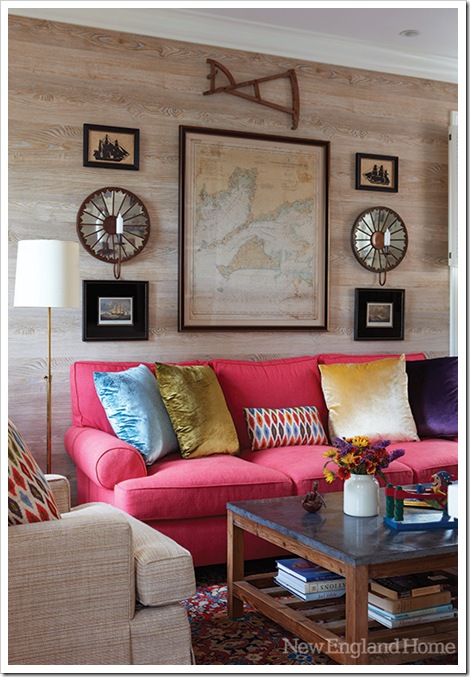Faux wood wallpaper by Nobilis covers the walls in the family room.