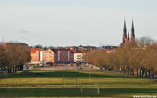 Vy från Fålhagsparken mot Uppsala
