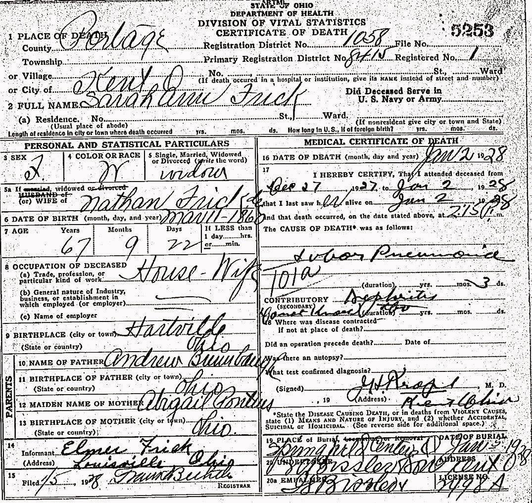 Sarah ann brumbaugh frick death certificate brumbaugh family place of death kent portage county ohio full name sarah ann frick widowed wife of nathan frick date of birth mar 11 1860 occupation housewife aiddatafo Images
