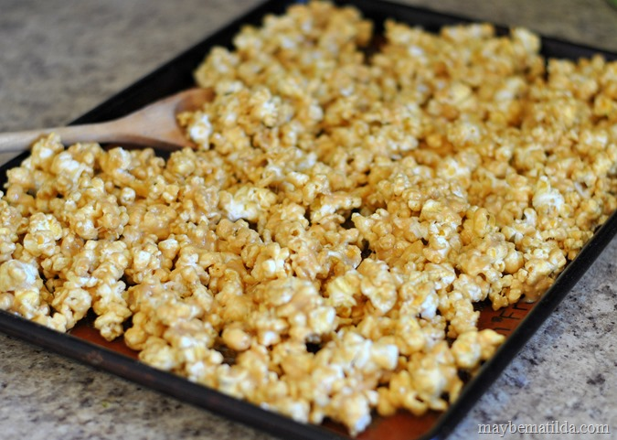 Peanut Butter Popcorn in pan to bake