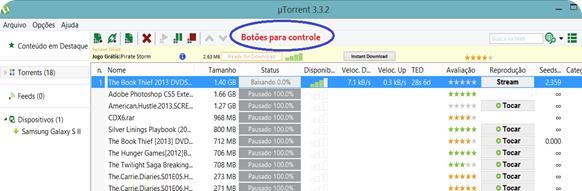 Tela do uTorrent: no menu superior, estão os botões para controle: pausar, executar, excluir, entre outros.
