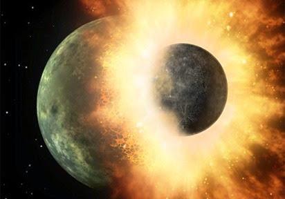 ilustração do impacto da Terra com Theia