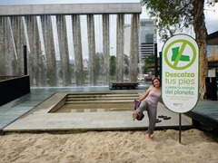 Jenn in barefoot park in Medellin.