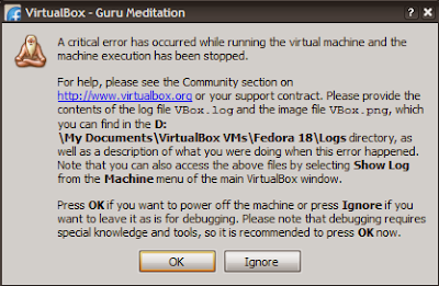 VirtualBoxのエラーダイアログ